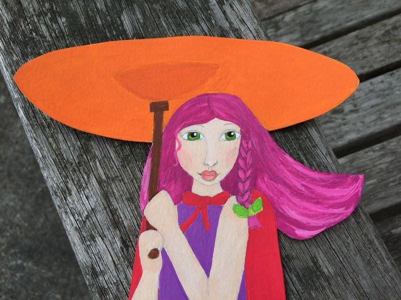Unicycle umbrella girl